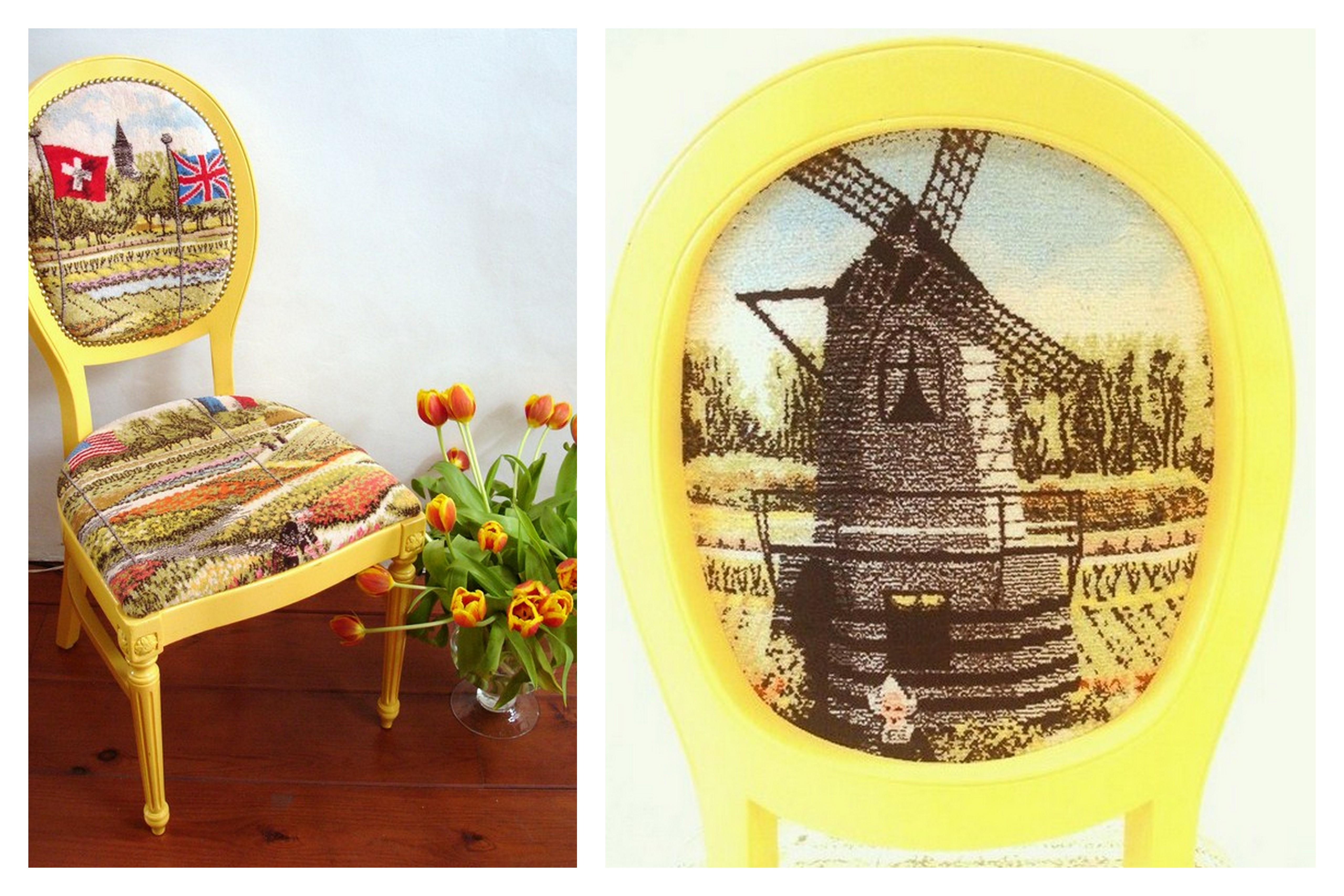 gele eetkamerstoelen met armleuning