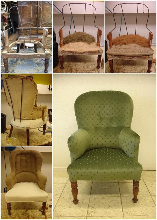 klassieke fauteuil stofferen velours